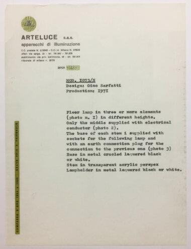 Palainco_Arteluce_Gino_Sarfatti_1073N_OriginalLetter_Description_Archive-2062
